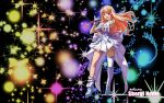 artist_request blonde_hair blue_eyes breasts character_name dress gloves highres long_hair macross macross_frontier microphone open_mouth sheryl_nome smile wallpaper