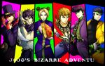 5boys arm_blade black_hair blonde_hair book cars_(jojo) cars_(jojo)_(cosplay) cosplay diavolo_(cosplay) dio_brando dio_brando_(cosplay) double_bun enrico_pucci enrico_pucci_(cosplay) feathers formal giorno_giovanna hat higashikata_jousuke honchu jojo_no_kimyou_na_bouken jonathan_joestar joseph_joestar_(young) kira_yoshikage kira_yoshikage_(cosplay) kuujou_jolyne kuujou_joutarou multiple_boys pompadour suit top_hat weapon