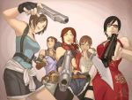 5girls aogje black_hair black_lagoon blue_eyes breasts brown_hair claire_redfield dark_skin dress earrings gloves gun jewelry jill_valentine lips looking_at_viewer multiple_girls necklace parody ponytail rebecca_chambers resident_evil resident_evil_0 resident_evil_2 resident_evil_3 resident_evil_4 resident_evil_5 sheva_alomar short_hair skirt sleeveless smile sunglasses trigger_discipline uneven_eyes weapon