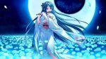 character_request flower flowers game_cg instrument japanese_clothes long_hair moon petals saeki_hokuto skyfish tagme_(character) tsukumo_no_kanade