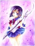 bishoujo_senshi_sailor_moon blue_eyes bob_cut border bow character_name crystal dated earrings elbow_gloves gloves jewelry nashi_juni parted_lips pleated_skirt purple purple_background sailor_collar sailor_saturn scythe short_hair signature silence_glaive skirt solo tiara tomoe_hotaru traditional_media translated watercolor_(medium) weapon white_gloves