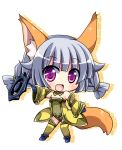 :d animal_ears bare_shoulders blush chibi detached_sleeves elin_(tera) fox_ears fox_tail gloves looking_at_viewer open_mouth purple_eyes silver_hair smile solo tail tera_online thigh-highs thighhighs tougo twintails violet_eyes weapon