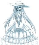 1girl character_name crossdressing dies_irae dress hat idora idora_(idola) long_hair looking_at_viewer male monochrome simple_background smile solo very_long_hair white_background wolfgang_schreiber