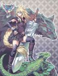 bird blonde_hair blue_eyes braid breasts cloud_strife final_fantasy final_fantasy_vii genderswap high_heel_boots highres kaiseki lizard long_hair navel skirt sword weapon wolf