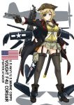 american_flag blonde_hair blue_eyes commentary eyepatch f4u_corsair garter_straps gun handgun m1911 mecha_musume ogitsune_(ankakecya-han) original panties pistol pointy_ears scar skirt sword thigh-highs thighhighs underwear weapon
