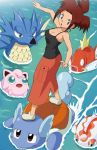 1girl atsumi_(pokemon) balancing blue_eyes breasts brown_hair cleavage goldeen jigglypuff long_skirt magikarp ocean pokemoa pokemon pokemon_(anime) pokemon_(creature) seadra skirt tank_top wartortle