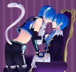 akiyoshi_(tama-pete) animal_ears artist_request bad_id blue_hair bridal_gauntlets cat_ears colored_eyelashes dual_persona earrings headphones jewelry kaito male midriff multiple_boys nail_polish project_diva project_diva_2nd selfcest short_hair tail tongue vocaloid yaoi