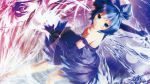 1girl blue_eyes blue_hair bow cirno dress elbow_gloves short_hair touhou wings