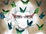adjusting_glasses blue_eyes bob_cut face glasses lips maki_(huran) moth original over-rim_glasses semi-rimless_glasses solo spot_color