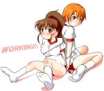blush breasts brown_eyes brown_hair buruma entangled gym_uniform inami_mahiru jump_rope long_hair looking_at_viewer multiple_girls no_shoes orange_hair sch short_hair simple_background socks taneshima_popura title_drop white_background white_legwear working!!
