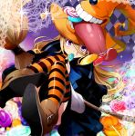 blonde_hair blush broom candy hat hirococo holding lollipop long_hair looking_at_viewer original purple_eyes solo striped striped_legwear swirl_lollipop thigh-highs thighhighs tongue violet_eyes