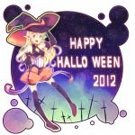 2012 blonde_hair blue_background elbow_gloves gloves halloween happy_halloween hat hude-pen long_hair original pointy_ears solo thigh-highs thighhighs witch_hat yellow_eyes