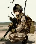 backpack bag boots copyright_request gloves gun h&k_mp7 helicopter helmet insignia laser_sight military open_mouth operator radio shibafu_(glock23) short_hair submachine_gun suppressor uniform weapon