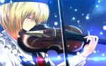 blonde_hair bow_(instrument) brooch bust closed_eyes eyes_closed hat highres instrument jewelry lights long_sleeves lunasa_prismriver nekominase playing_instrument shirt short_hair solo touhou vest violin