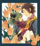 1girl alvin_(tales_of_xillia) brown_hair carrying closed_eyes creature elise_lutus eyes_closed facial_hair flower goatee princess_carry ribbon smile tales_of_(series) tales_of_xillia tales_of_xillia_2 tipo_(xillia) yachi_kou