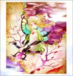 1girl blonde_hair braid branch butterfly_wings ingway mercedes odin_sphere pointy_ears red_eyes souka_(souspirit) twin_braids weapon wings