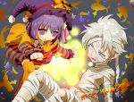 1girl bandage bandages child dress empty_eyes fate/zero fate_(series) halloween happy_halloween hat matou_kariya matou_sakura mummy purple_eyes purple_hair short_hair striped violet_eyes wand white_hair witch_hat yan'yo_(yan'yan'yo) yan'yo_(yan'yan'yo) young
