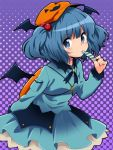 backpack bag blue_eyes blue_hair blush candy hair_bobbles hair_ornament halloween hat head_wings ica kawashiro_nitori key looking_at_viewer polka_dot polka_dot_background short_hair solo touhou