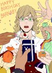 antonio_lopez bag barnaby_brooks_jr birthday blonde_hair bottle bracelet cake food fork gift glasses green_eyes grinning_cheshire_cat hands huang_baoling ivan_karelin jacket jewelry kaburagi_t_kotetsu karina_lyle keith_goodman nathan_seymour red_jacket tiger_&_bunny