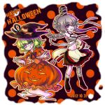 2girls alternate_costume bandage bandages bubble_skirt dated dress eyepatch ghost_tail green_hair halloween happy_halloween hat holloween jack-o'-lantern jack-o'-lantern japanese_clothes kariginu long_sleeves mononobe_no_futo multiple_girls open_mouth orange_dress ponytail pumpkin short_hair silver_hair skirt smile soga_no_tojiko tate_eboshi touhou wide_sleeves witch_hat yoteichouwa