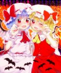 ascot bat blonde_hair blue_hair cheek-to-cheek fang flandre_scarlet hat hat_ribbon highres looking_at_viewer multiple_girls onyuuuu open_mouth pink_nails puffy_sleeves red_eyes red_nails remilia_scarlet ribbon shirt short_hair short_sleeves siblings side_ponytail sisters skirt skirt_set smile touhou wink wrist_cuffs wrist_ribbon