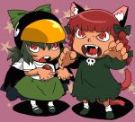 animal_ears animal_hat bird_hat black_wings bow braid cape cat_ears cat_tail child claws dress extra_ears fangs green_dress green_hair hair_bow hair_ribbon hat kaenbyou_rin long_sleeves multiple_girls onikobe_rin open_mouth red_eyes red_hair redhead reiuji_utsuho ribbon shirt short_sleeves skirt skull star tail third_eye touhou twin_braids wings young