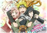 3boys black_eyes black_hair blonde_hair closed_eyes dated dog eyes_closed forehead_protector fox green_eyes happy_birthday haruno_sakura hatake_kakashi konohagakure_symbol kyuubi kyuubi_(naruto) mask multiple_boys naruto naruto_shippuuden natsudori open_mouth pakkun petals pink_hair short_hair silver_hair smile spiked_hair spiky_hair sweatdrop team7 uchiha_sasuke uzumaki_naruto vest