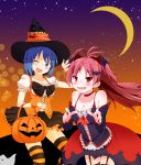 ;d alternate_costume bare_shoulders basket bat bat_hair_ornament bat_wings blue_eyes blue_hair blush bow choker collarbone corset costume crescent_moon detached_sleeves dress fang garter_straps hair_bow hair_ornament halloween hat highres jack-o'-lantern jack-o'-lantern kyubey leaning_forward long_hair looking_at_viewer mahou_shoujo_madoka_magica miki_sayaka moon multiple_girls nail_polish night open_mouth ponytail pumpkin red_eyes red_hair redhead ribbon sakura_kyouko short_hair skirt sky smile star striped striped_legwear thigh-highs thighhighs wings wink witch witch_hat wristband yokoshima_(euphoria) zettai_ryouiki