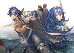 1girl blue_eyes blue_hair chrom_(fire_emblem) fire_emblem fire_emblem:_kakusei kitsunen_(kitune_n) krom lucina sword weapon