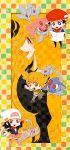 2boys 2girls azelf beanie chibi hat hikari_(pokemon) jun_(pokemon) kouki_(pokemon) mesprit multiple_boys multiple_girls poke_ball pokemon pokemon_(creature) pokemon_(game) pokemon_dppt scarf senzzang shirona_(pokemon) uxie
