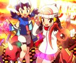 2girls ^_^ ariados bad_id bare_legs beanie bike_shorts black_hair blue_hair closed_eyes crystal_(pokemon) hair_ornament hat hikari_(pokemon) katou_tom kricketune multiple_girls platinum_berlitz pokemon pokemon_(creature) pokemon_(game) pokemon_dppt pokemon_gsc scarf twintails winter_clothes