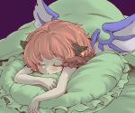 :o animal_ears blush closed_eyes eyes_closed long_hair lying mystia_lorelei nise_nanatsura on_stomach pillow pink_hair short_hair solo touhou under_covers wings