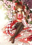 1girl bow brown_eyes brown_hair hagiwara_rin hair_bow hakurei_reimu long_hair looking_at_viewer pantyhose solo touhou
