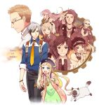 5boys alvin_(tales_of_xillia) beret blazer blonde_hair brown_hair cat elise_lutus elle_mel_martha formal glasses hat height_difference jude_mathis julius_will_kresnik leia_roland long_hair ludger_will_kresnik lulu_(tales_of_xillia_2) milla_(tales_of_xillia_2) milla_maxwell multiple_boys multiple_girls necktie pants rowen_j._ilbert sen_nai sepia suit tales_of_(series) tales_of_xillia tales_of_xillia_2 tipo_(xillia) title_drop twintails white_hair
