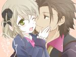 1girl alvin_(tales_of_xillia) blazer bow brown_eyes brown_hair elise_lutus green_eyes hair_bow sepia_background short_hair smile tales_of_(series) tales_of_xillia tales_of_xillia_2 toraneko wink