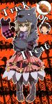 1girl alvin_(tales_of_xillia) animal_costume bat boned_meat boots bow brown_hair doll dress elise_lutus food frills green_eyes halloween meat orange_background ribbon short_hair smile speech_bubble tales_of_(series) tales_of_xillia tipo_(xillia) toraneko trick_or_treat wolf_costume