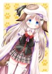:3 animal_ears blue_eyes cape dog_ears hands_clasped hat highres komiru large_buttons little_busters! long_hair noumi_kudryavka plaid plaid_skirt school_uniform silver_hair skirt tail thigh-highs thighhighs