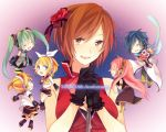 4girls akiyoshi_(tama-pete) blonde_hair blue_hair bouquet brown_hair character_name closed_eyes detached_sleeves eyes_closed flower gloves green_hair hair_ornament hair_ribbon hairclip hatsune_miku headset highres kagamine_len kagamine_rin kaito long_hair megurine_luka meiko microphone microphone_stand multiple_boys multiple_girls necktie open_mouth pink_hair ribbon scarf short_hair shorts skirt thigh-highs thighhighs twintails very_long_hair vocaloid