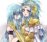 armor blue_eyes blue_hair cape dual_persona gemini_paradox kyan_(glira) long_hair looking_at_viewer mask multiple_girls saint_seiya saint_seiya_omega smile tears