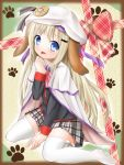 animal_ears blonde_hair blue_eyes cape dog_ears fang hat little_busters! long_hair moguchi noumi_kudryavka paw_print plaid plaid_skirt school_uniform skirt thigh-highs thighhighs