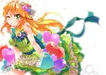 1girl ayasugi_tsubaki balloon blonde_hair bow dress flower green_dress green_eyes hair_flower hair_ornament hands_on_thighs heart hoshii_miki idolmaster leaning_forward petals puckered_lips ribbon sleeveless sleeveless_dress solo striped striped_dress wink