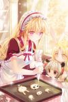 animal_ears apron bangs black_eyes blonde_hair blush bow bunny_ears cannelle choker cinia_pacifica collarbone cookie drill_hair flower food frills frown grey_hair holding long_hair lowres maid_headdress panda_ears parted_bangs penika pink_eyes rabbit_ears reum ribbon rose short_sleeves smile sword_girls very_long_hair yellow_eyes