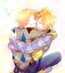 blonde_hair closed_eyes eyes_closed glasses hug kurusu_shou male multiple_boys open_mouth shinomiya_natsuki short_hair smile solo uta_no_prince-sama