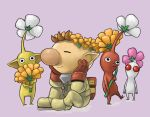 brown_hair flower naru_(wish_field) olimar pikmin pikmin_(creature) pointy_ears sitting smile spacesuit