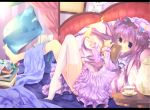 barefoot bed blush book crescent cup double_bun dress feet hat highres holding holding_book kettle long_hair looking_at_viewer magic maryquant no_shoes patchouli_knowledge pillow purple_eyes purple_hair saucer single_thighhigh sitting solo teacup thigh-highs thighhighs touhou violet_eyes white_legwear