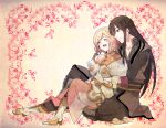 1girl belt black_eyes black_hair boots closed_eyes coat duplicate estellise_sidos_heurassein eyes_closed long_hair pants pink_hair sepia_background short_hair sitting sitting_on_lap sitting_on_person smile takumi_(scya) tales_of_(series) tales_of_vesperia yuri_lowell