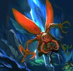 claws digimon highres insect insect_wings kona_(19911212) kuwagamon monster no_humans sharp_teeth solo wings