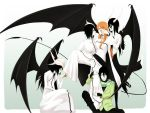 4boys alternate_costume black_hair black_wings bleach casual eri green_eyes highres inoue_orihime multiple_boys multiple_persona nail_polish orange_eyes orange_hair ulquiorra_cifer wings yellow_eyes