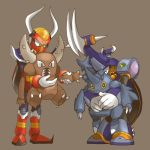 2boys ^_^ arm_grab armor black_eyes boomer_kawanger boomer_kuwanger brown_eyes carrying claws closed_eyes crossover gravity_beetbood gravity_beetle green_eyes grey_background height_difference heracross holding horn horns hug hug_from_behind looking_down lowres mecha multiple_boys outstretched_arm pinsir pokemon pokemon_(game) robot rockman rockman_x rockman_x3 simple_background slit_pupils smile spikes standing stuffed_animal stuffed_beetle stuffed_toy tanei_fumi tanetane1ban teeth yellow_sclera