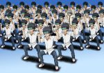 6+boys black_hair blue_background clone crossover gradient gradient_background head_mounted_display kamijou_kyousuke kamijou_touma mahou_shoujo_madoka_magica multiple_boys namesake odd_one_out school_uniform spiky_hair squatting tk8d32 to_aru_majutsu_no_index